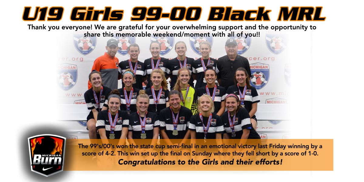 U19 Girls 99-00 Black MRL Runners Up at State Cup Finals!